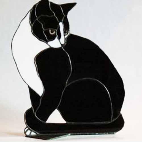 Black and white cat suncatcher